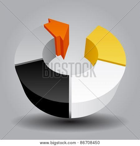 Abstract template with round and arrow. Contain the Clipping Path