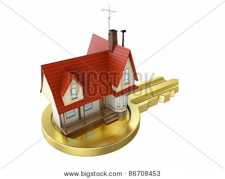 house with gold key