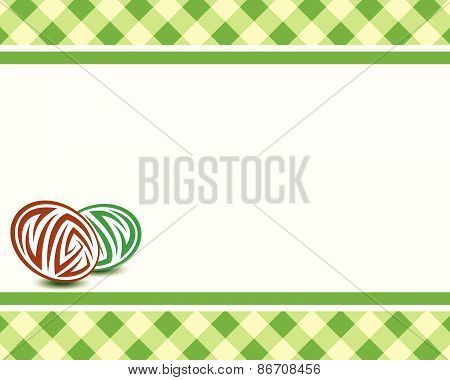 Vector Frame With Eggs On A Plaid Background. Easter