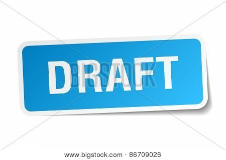 Draft Blue Square Sticker Isolated On White