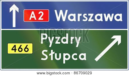 Direction Exit Sign In Poland