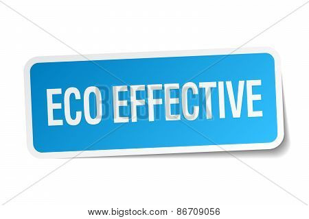 Eco Effective Blue Square Sticker Isolated On White