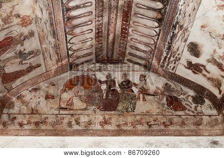 Wall Painting In Raj Mahal Palace In Orchha