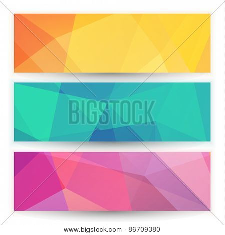 Abstract geometric triangular banners set - raster version