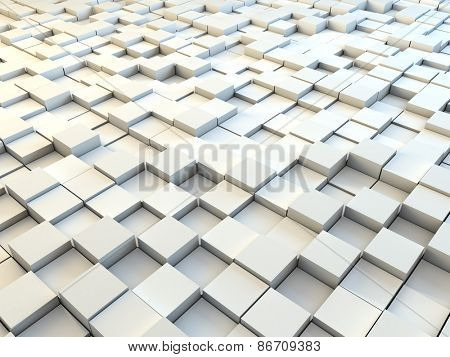 Abstract 3D white paper cubes background.