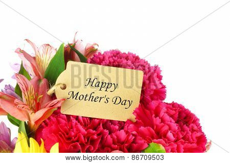 Happy Mother's Day tag in flower bouquet