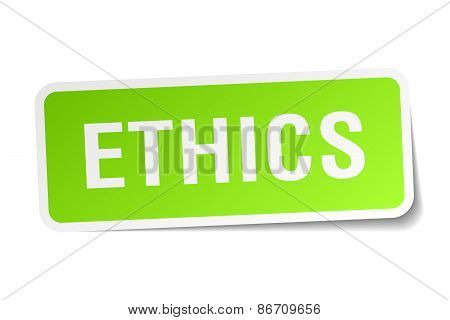 Ethics Green Square Sticker On White Background