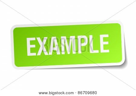 Example Green Square Sticker On White Background