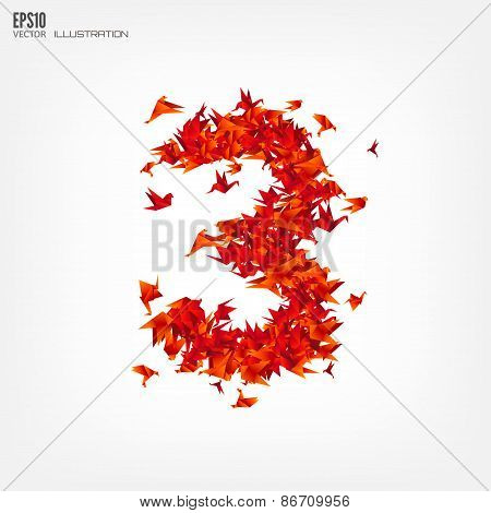 Number 3. Numbers with origami paper bird on abstract background