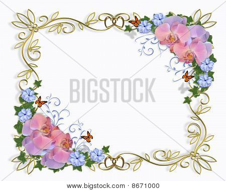 Wedding invitation border orchids