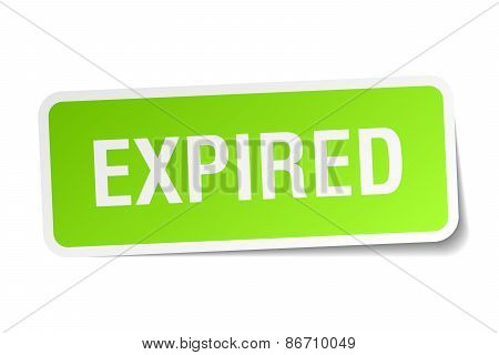 Expired Green Square Sticker On White Background