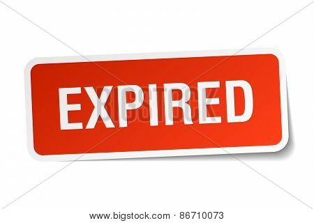 Expired Red Square Sticker Isolated On White