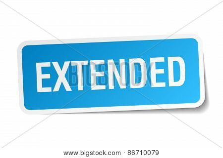 Extended Blue Square Sticker Isolated On White