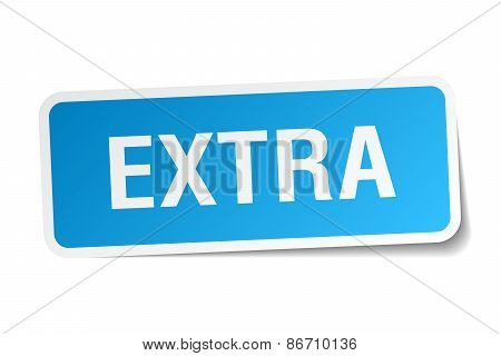 Extra Blue Square Sticker Isolated On White