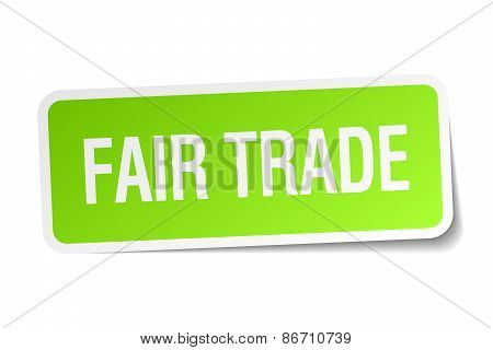Fair Trade Green Square Sticker On White Background