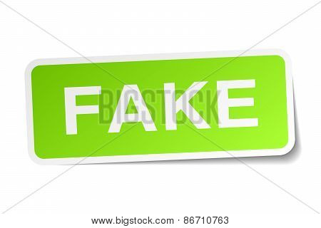 Fake Green Square Sticker On White Background