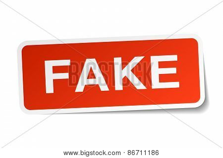 Fake Red Square Sticker Isolated On White