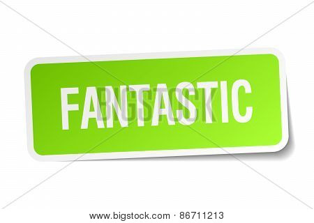 Fantastic Green Square Sticker On White Background