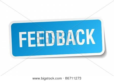 Feedback Blue Square Sticker Isolated On White