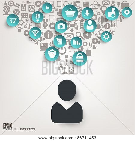 Flat abstract background with web icons. Interface symbols. Cloud computing. Mobile devices.Business