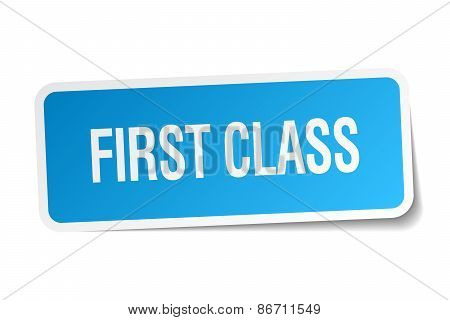 First Class Blue Square Sticker Isolated On White