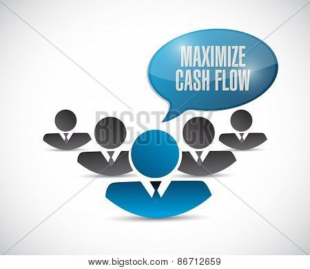 Maximize Cash Flow Team Sign Illustration Design