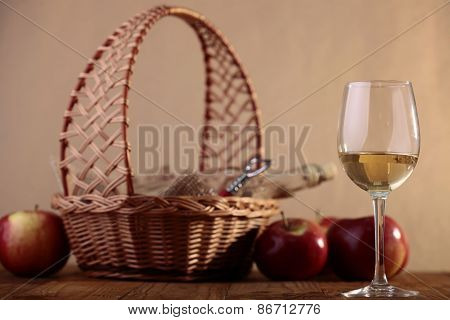 Wineglass And Bottle In Basket