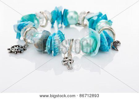 blue bracelet with pendants