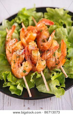 fried shrimp and salad