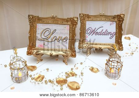 Two Golden Wedding Frames
