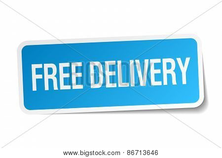 Free Delivery Blue Square Sticker Isolated On White
