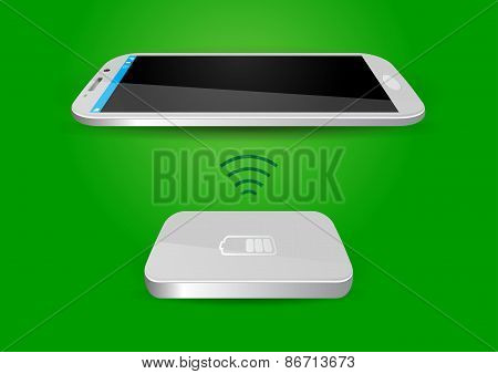 Wireless Battery Charger And Smartphone Or Tablet - Vector Illustration