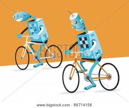 Two Robots On A Bike