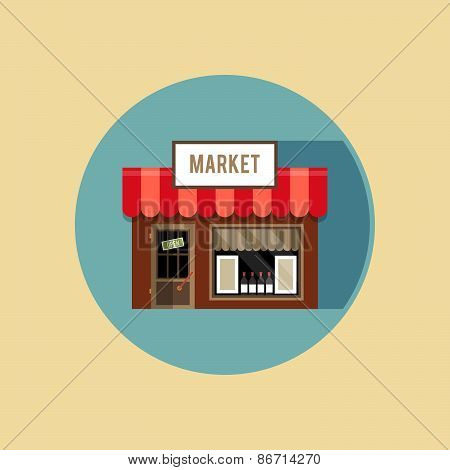 Vector Modern Flat Design Square Architecture Web Icon On Retro Style Local Grocery Market Shop Stor