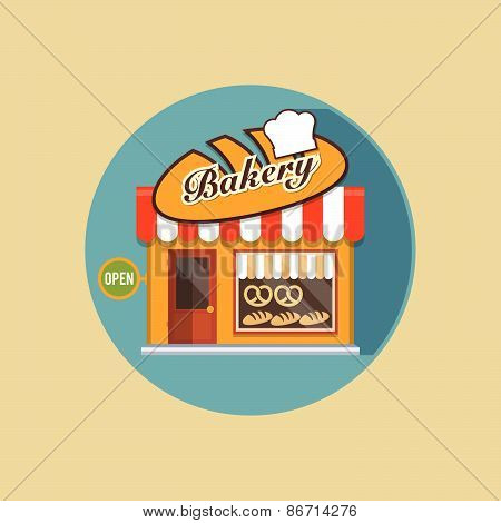 Vector Modern Flat Design Square Architecture Web Icon On Retro Style Local Bakery Shop Yellow Facad