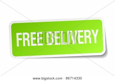 Free Delivery Green Square Sticker On White Background