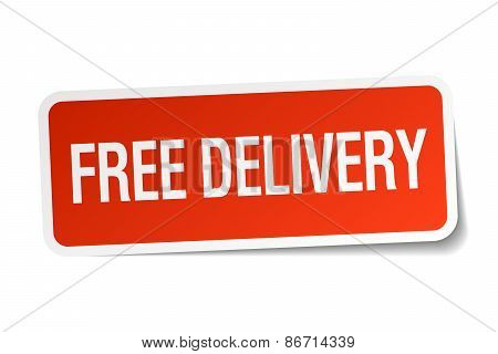 Free Delivery Red Square Sticker Isolated On White
