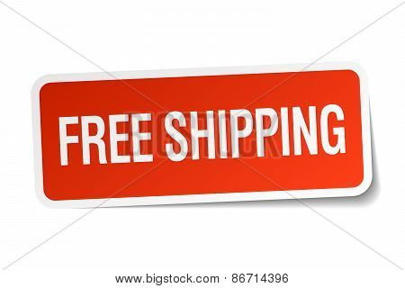 Free Shipping Red Square Sticker Isolated On White