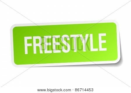 Freestyle Green Square Sticker On White Background