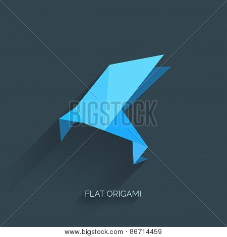 Flatr origami paper bird on abstract background