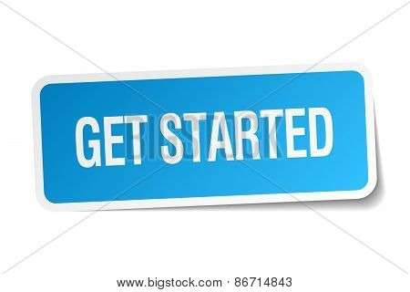 Get Started Blue Square Sticker Isolated On White