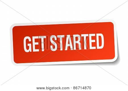 Get Started Red Square Sticker Isolated On White