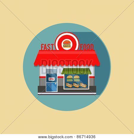 Vector Modern Flat Design Square Architecture Web Icon On Retro Style Local Store Fast Food Grey Fac