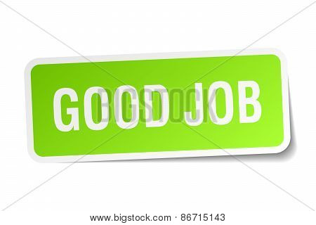 Good Job Green Square Sticker On White Background