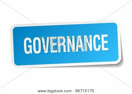 Governance Blue Square Sticker Isolated On White