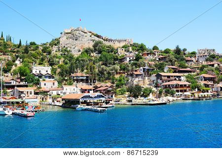 Kekova, Turkey - April 24: The View On Bay And Castle On April 24, 2014 In Kekova, Turkey. More Then