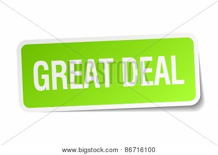 Great Deal Green Square Sticker On White Background