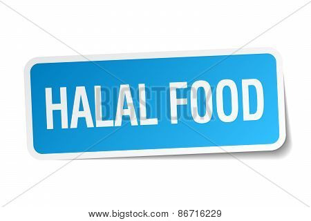 Halal Food Blue Square Sticker Isolated On White