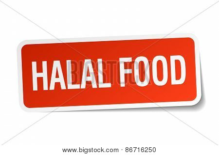 Halal Food Red Square Sticker Isolated On White
