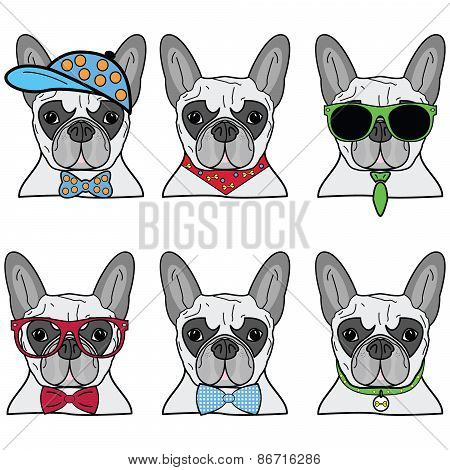 French bulldog icons